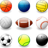Balls for various sports Royalty Free Stock Photos