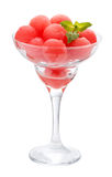 Balls of watermelon in a glass Cremant. Isolated Royalty Free Stock Photography