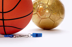 Balls and whistle 5. Balls and whistle on a white background Stock Photos