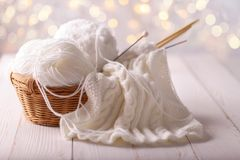 Yarn and knitting needles Royalty Free Stock Images
