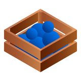 Balls in wood box icon, isometric style royalty free illustration