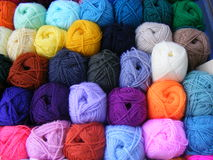 Balls of wool. Fabric accessories for retail haberdashery,balls of wool Royalty Free Stock Image