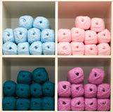 Balls of wool. On the shelf of a haberdashery Royalty Free Stock Photography