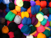 Balls of Wool. On sale at a Market in Peru stock image