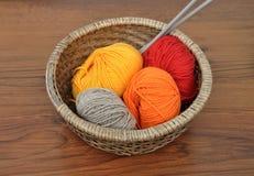 Balls of wool in basket Stock Photo