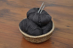 Balls of wool in basket Stock Images
