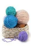 Balls of wool in the basket Royalty Free Stock Images