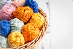 Balls of wool in a basket Royalty Free Stock Image