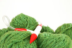 Balls of wool with a knitting needle Royalty Free Stock Image