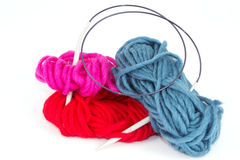 Balls of wool with a knitting needle Stock Image