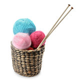 Balls of wool and knitting needles Royalty Free Stock Photo