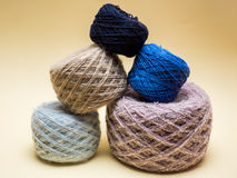 Balls of wool pyramid Stock Images