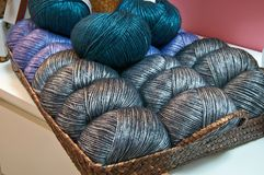Balls of wool. A set of balls of wool on a tray Stock Photography