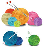 Balls of wool. Three compositions with balls of wool Stock Image
