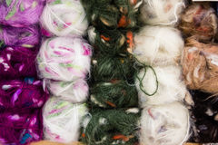 Balls of wool. Yarn many colors Royalty Free Stock Image