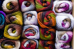 Balls of wool. Yarn many colors Royalty Free Stock Photos