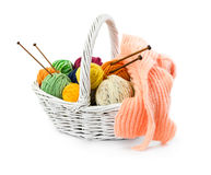 Balls of woolen threads for knitting in wicker basket Royalty Free Stock Photography