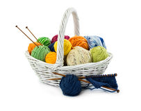 Balls of woolen threads for knitting in wicker basket Stock Photos