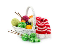 Balls of woolen threads for knitting in wicker basket Stock Photography