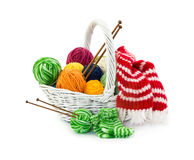 Balls of woolen threads for knitting in wicker basket Stock Images