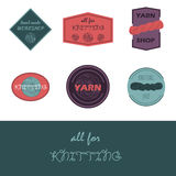 Balls of yarn. Badges and logo for knitting shop, hand made workshop and packaging. Knitting logo. Vector  badges with yarn balls. Yarn balls from wool and Royalty Free Stock Photo