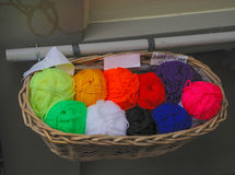 Balls of Yarn In Basket Stock Photos