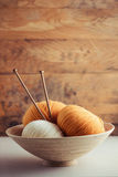 Balls of Yarn in Basket Stock Image