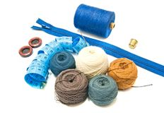 Balls of yarn and blue meter Stock Photography