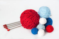 Balls of yarn for knitting Royalty Free Stock Photos