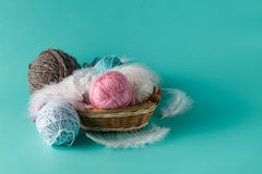 Balls of yarn for knitting Royalty Free Stock Images
