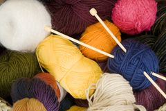 Balls Of Yarn With Knitting Needles 2. Close-up shot taken with a Canon 5D Stock Photo