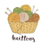 Balls of yarn and knitting needles. In basket isolated on white background Royalty Free Stock Photo