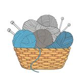 Balls of yarn and knitting needles in basket isolated on white background.  Royalty Free Stock Image