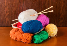 Balls of yarn  with knitting needles. Selective focus Royalty Free Stock Images