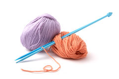 Balls of a yarn knitting spokes Stock Image