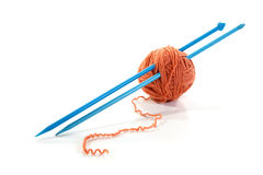 Balls of a yarn knitting spokes Royalty Free Stock Photography