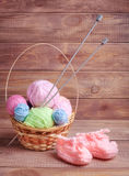Balls of yarn for knitting. On wooden boards Royalty Free Stock Photography