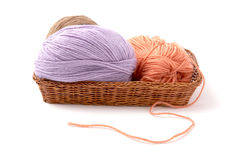 Balls of a yarn knitting  in wooden box Royalty Free Stock Images