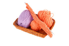 Balls of a yarn knitting in wooden box Royalty Free Stock Photos