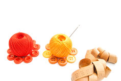 Balls of yarn, meter and buttons Royalty Free Stock Image