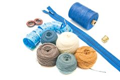 Balls of yarn and meter on white Royalty Free Stock Images