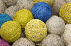 Balls of yarn from natural fibers Stock Photos