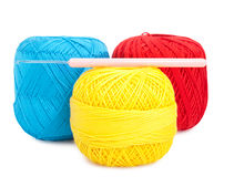 Balls of yarn and needle Stock Photography