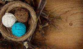 Balls of yarn in a nest Royalty Free Stock Photography