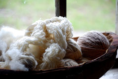 Balls Of Yarn. In a wooden bowl Royalty Free Stock Photography