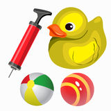 Balls and yellow duck. Vector set in cartoon style stock illustration