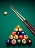 Balls06. Cue sticks and Balls on a pool (billards) table before play Stock Photography