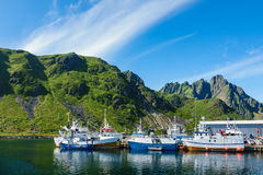 Ballstad on the Lofoten islands in Norway.  royalty free stock photography