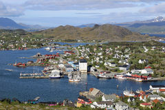 Ballstad, Lofoten, Norway. View to Ballstad city and harbour, Lofoten, Norway royalty free stock photos