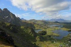 Ballstad, Lofoten, Norway. View to Ballstad and mountains of Vestvagoy, Lofoten, Norway stock image